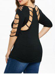 Plus Size Fishnet Insert Elbow Sleeve T-shirt -