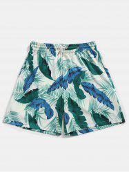 Drawstring Banana Leaves Print Board Shorts -