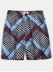 Stripe Print Drawstring Beach Shorts -
