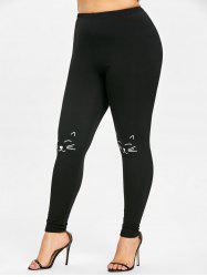 Plus Size Cat Knee Leggings -