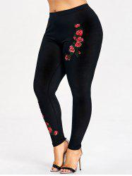 Plus Size Floral Embroidery Leggings -