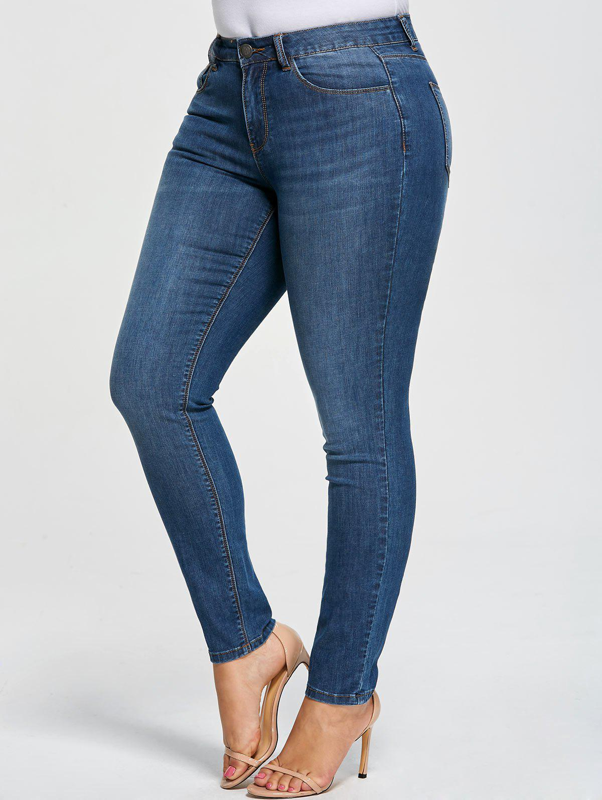 Chic Plus Size Five Pockets Denim Pencil Jeans