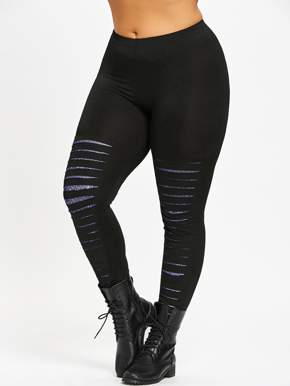 Cheap Plus Size Ripped Galaxy Leggings