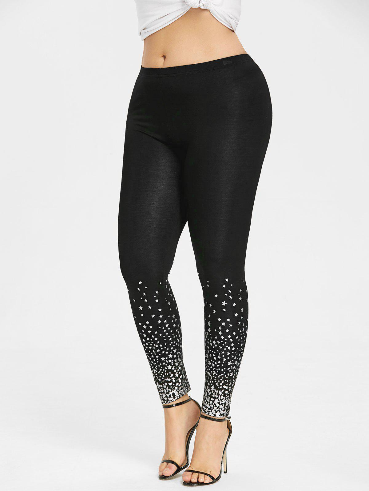 Affordable Plus Size Stars Pattern Leggings