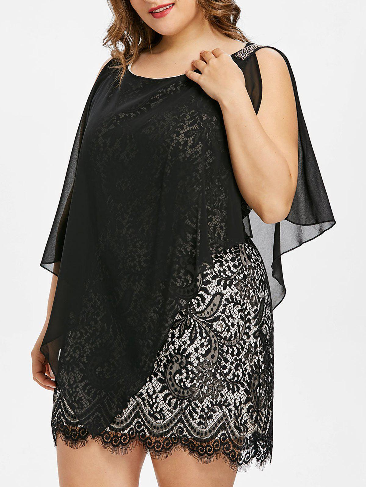 Fashion Sleeveless Plus Size Overlay Lace Dress