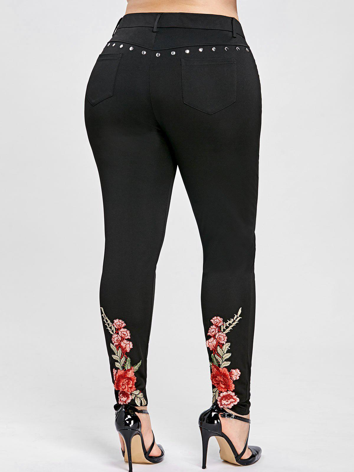 Buy Floral Embroidery Rivet Plus Size Pencil Pants