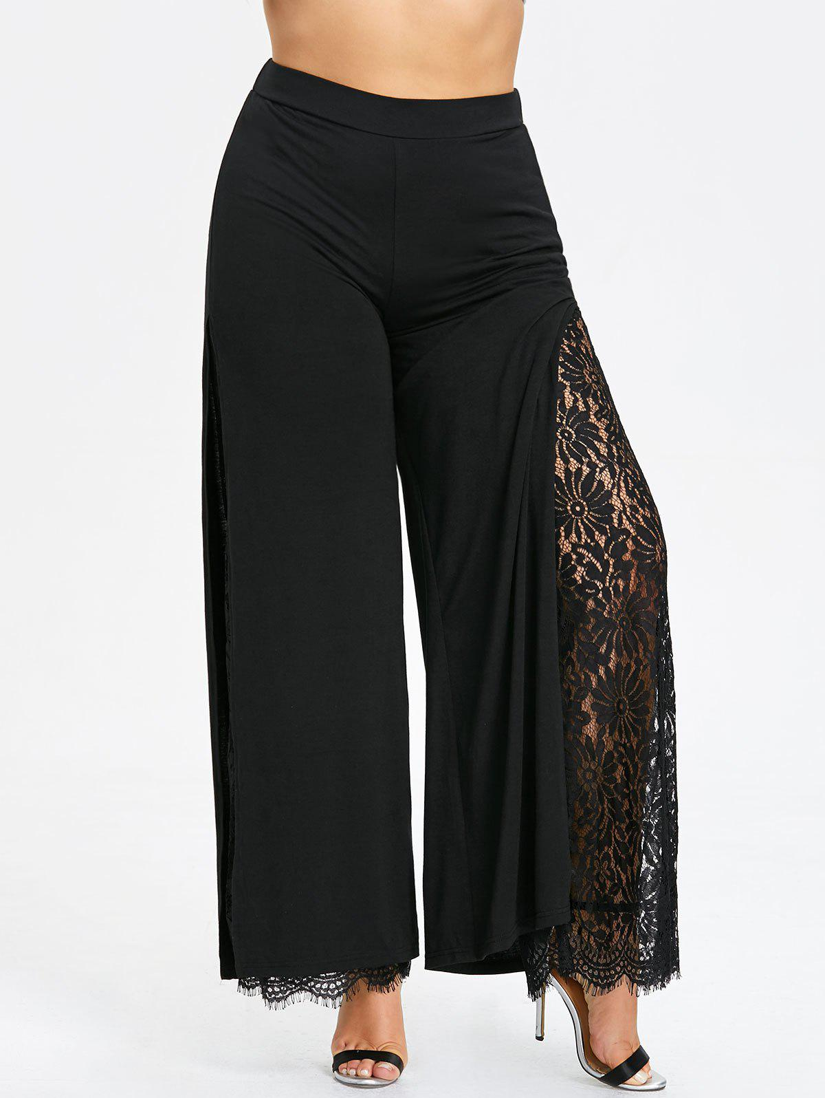 60096313e52 2019 Plus Size Lace High Slit Palazzo Pants