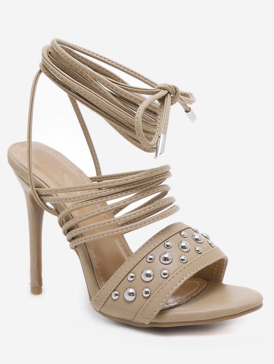 b12848947 2019 Rivet Ankle Wrapped High Heels