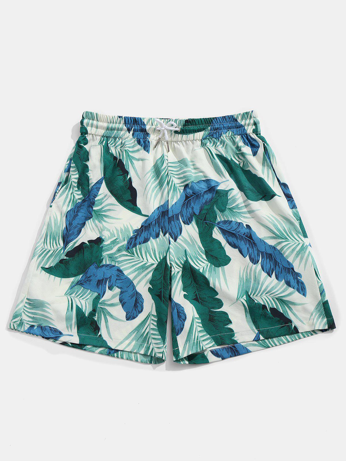 Sale Drawstring Banana Leaves Print Board Shorts
