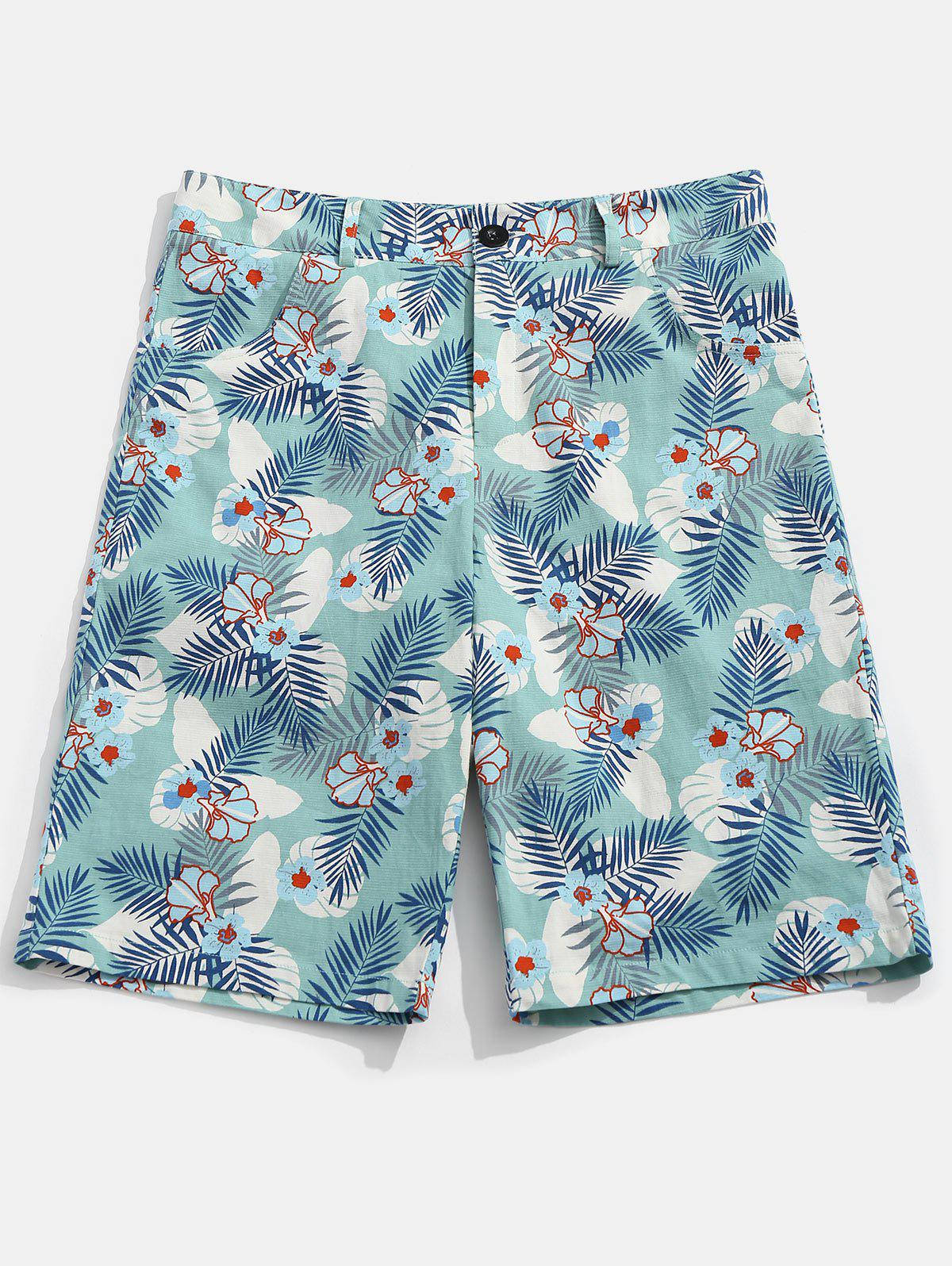Shops Flower Leaves Print Casual Shorts