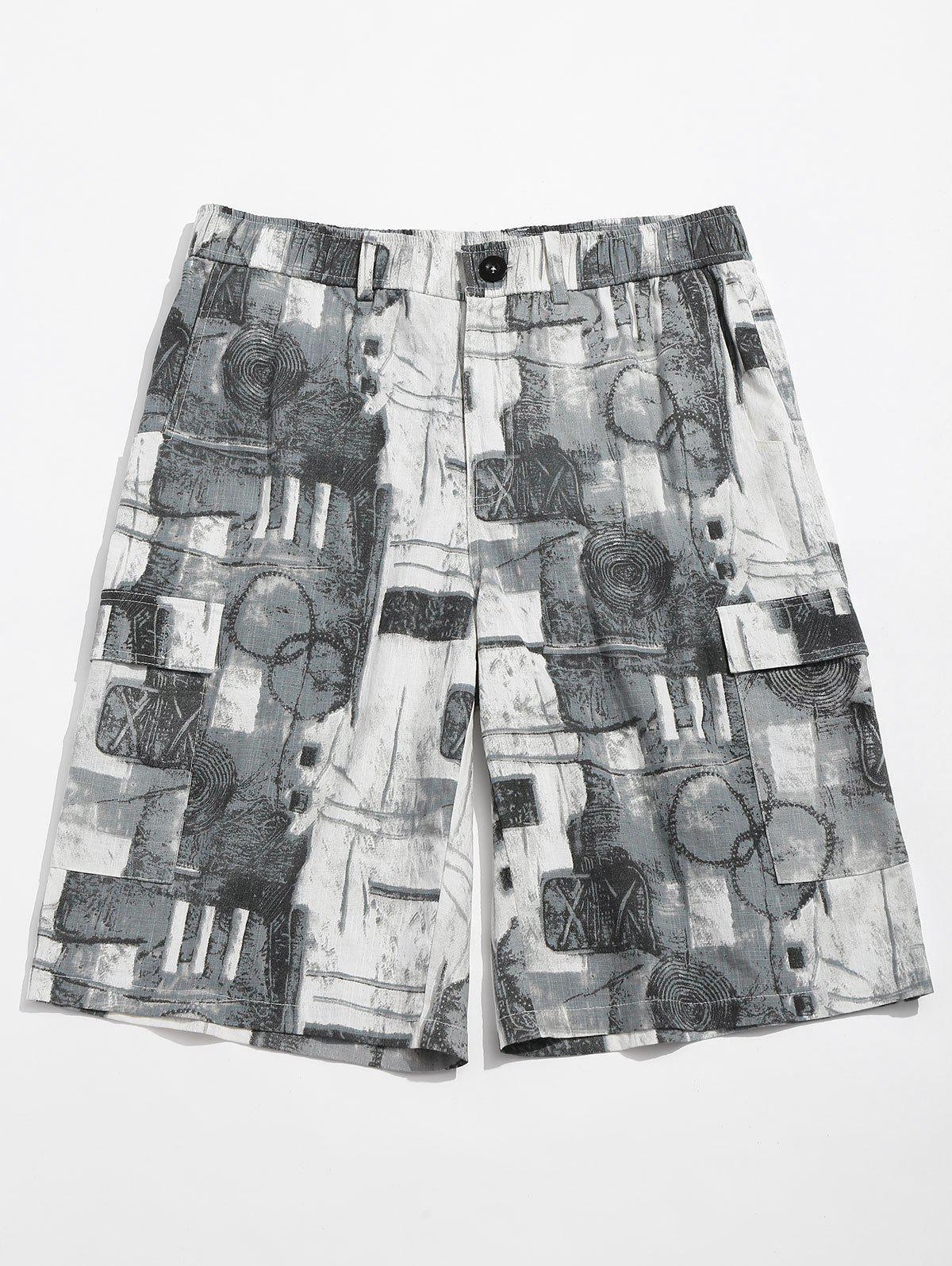 Outfit Old Annual Ring Print Zipper Fly Shorts