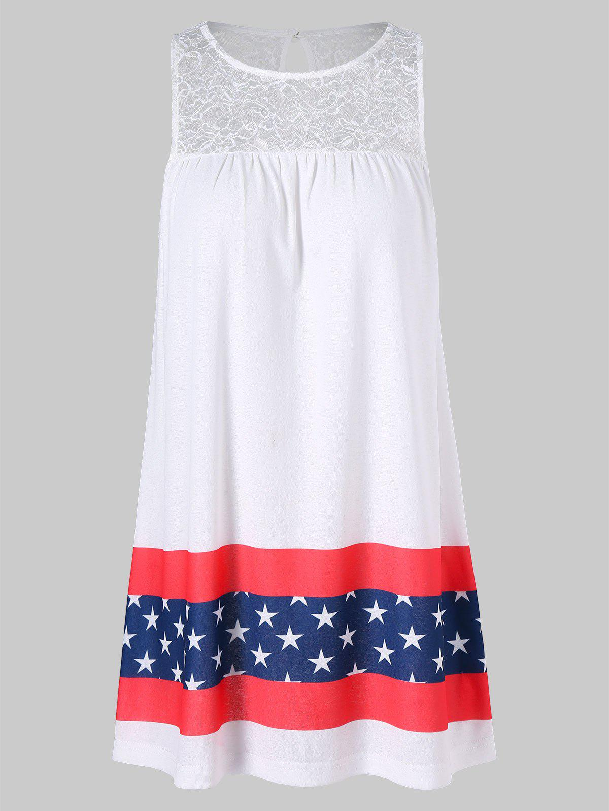 Discount Stars and Stripes Print Sleeveless Dress