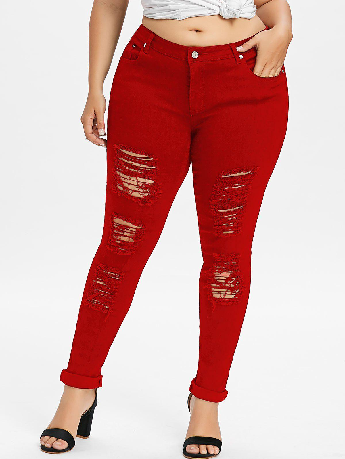 Sale Plus Size Ripped Distressed Jeans