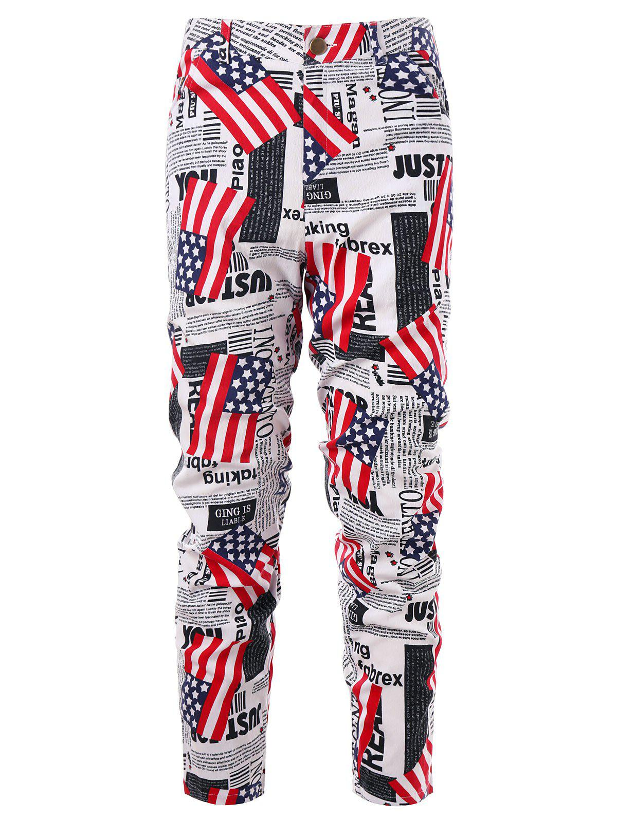 Shop Zip Fly American Flag Newspaper Print Pants
