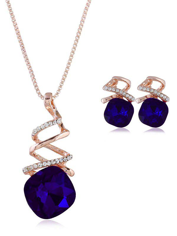 New Rhinestone Inlaid Geometric Faux Gem Jewelry Set