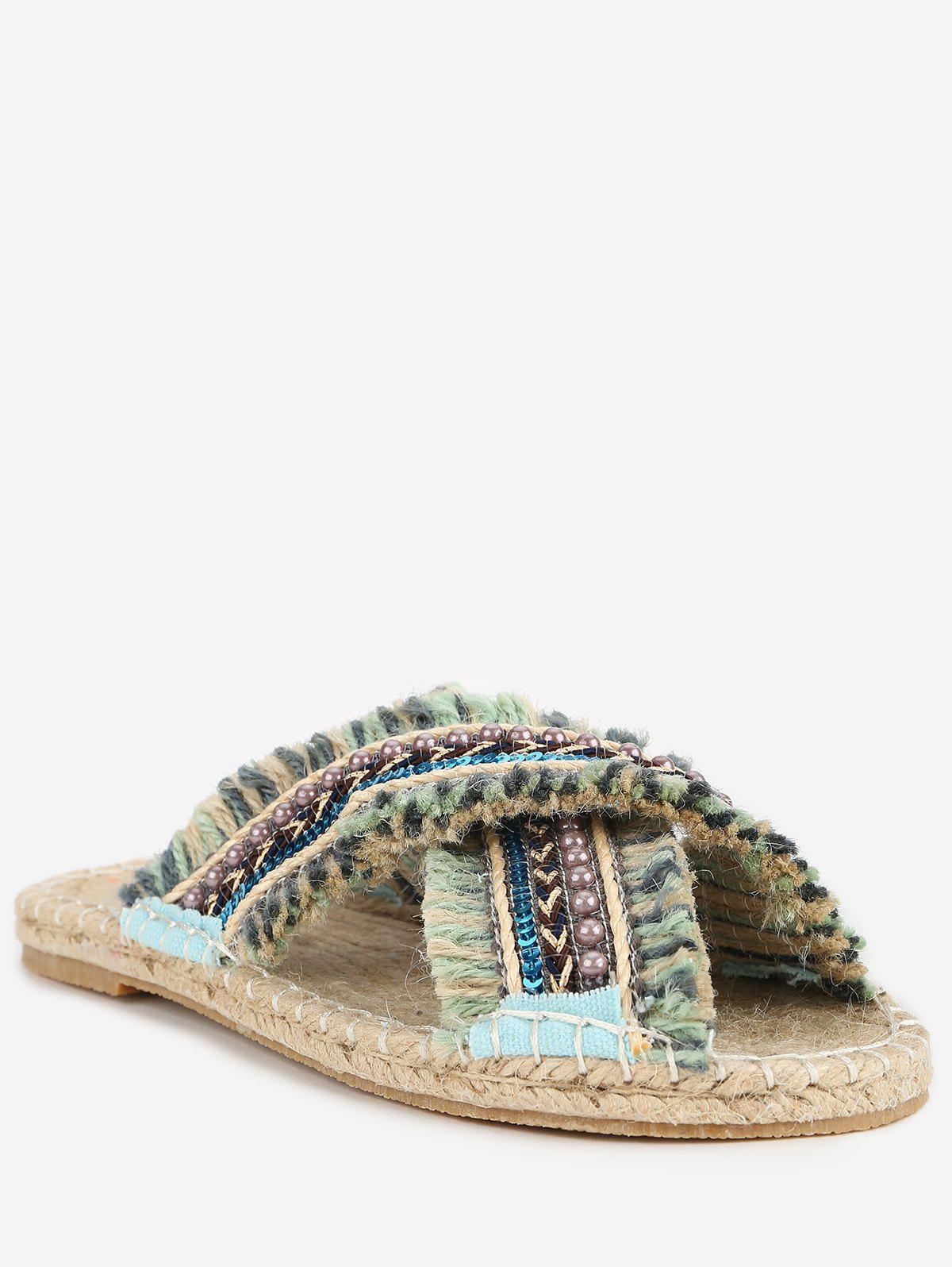 Shops Tassels Frayed Edge Tribal Print Faux Pearls Crisscross Slides