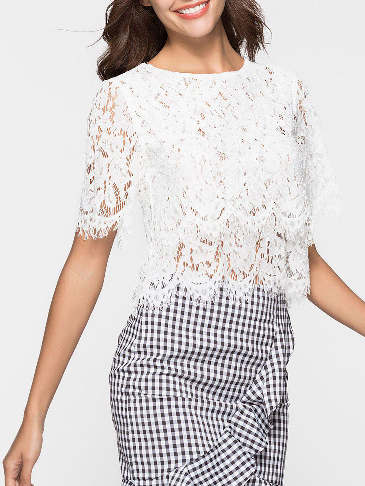 Discount Short Sleeve Lace Blouse