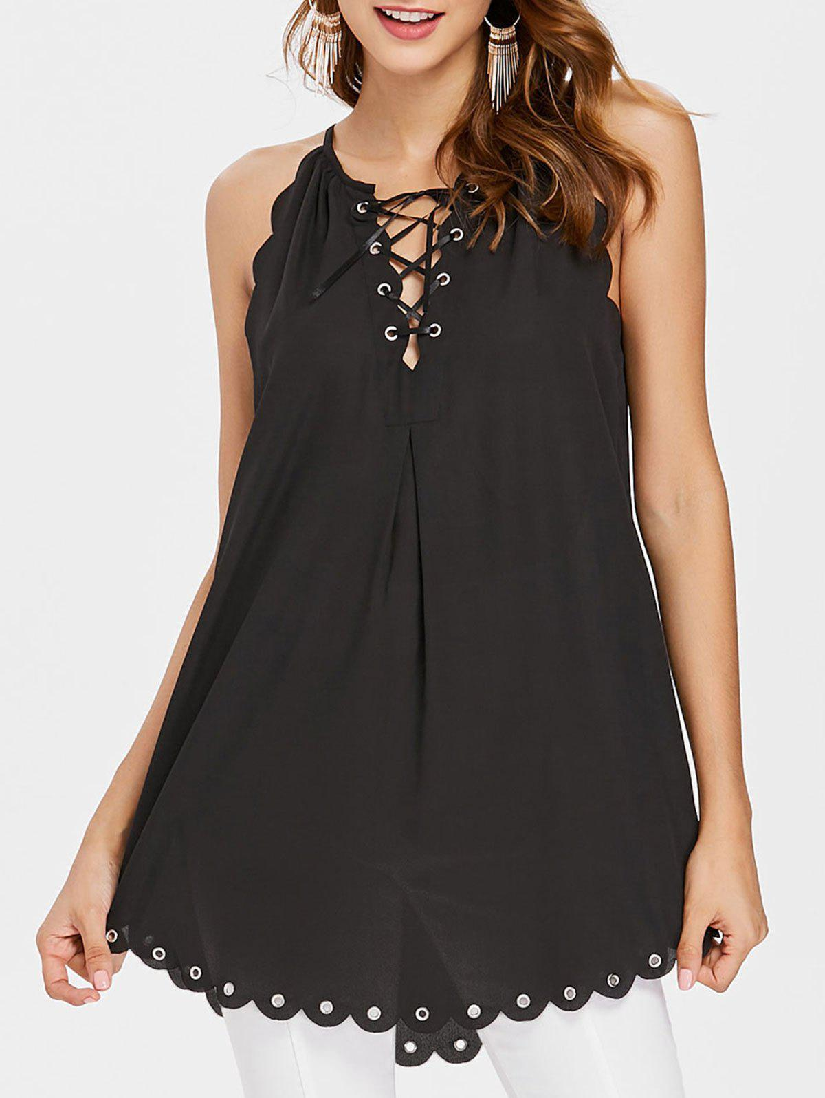 Shop Scalloped Lace Up Cami Top