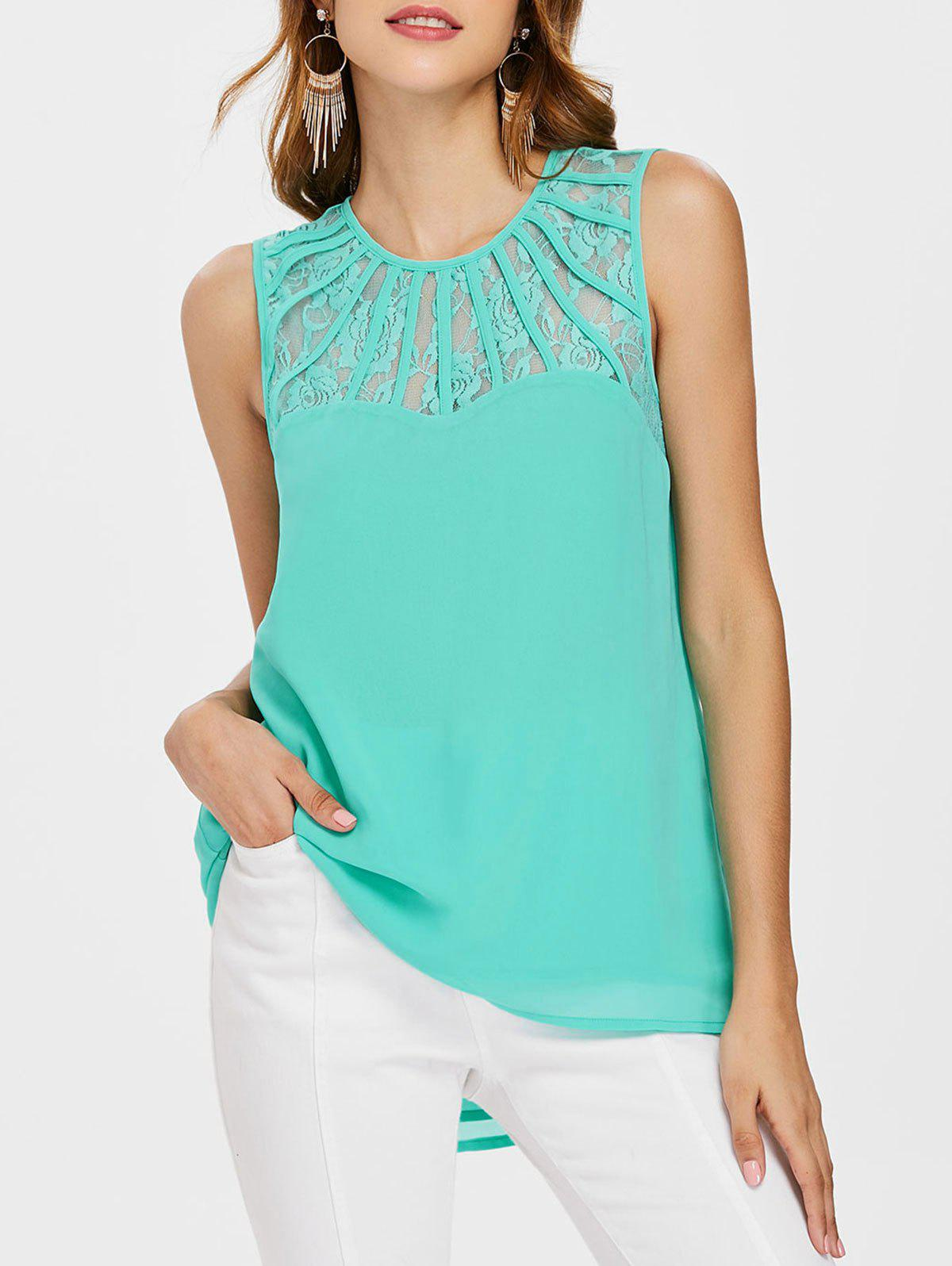 Buy Lace Panel Sleeveless Chiffon Blouse