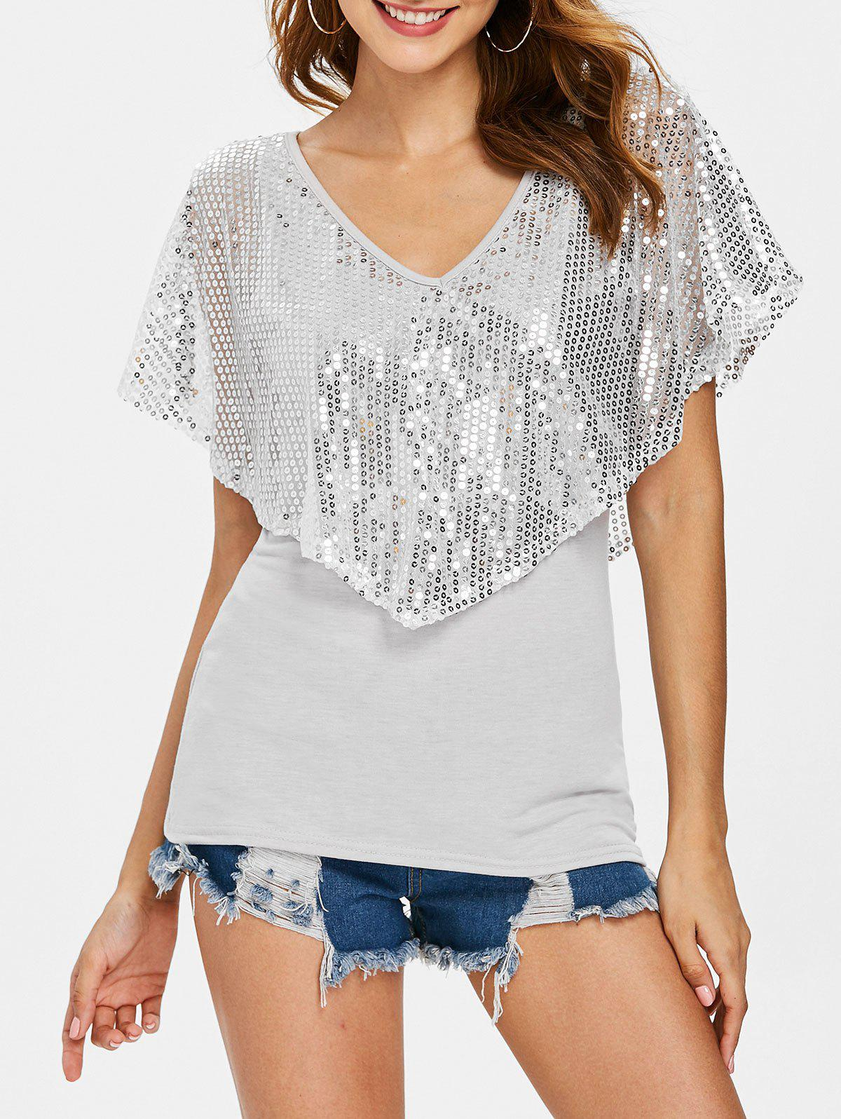 Trendy Sequin Plunging Neck T-shirt