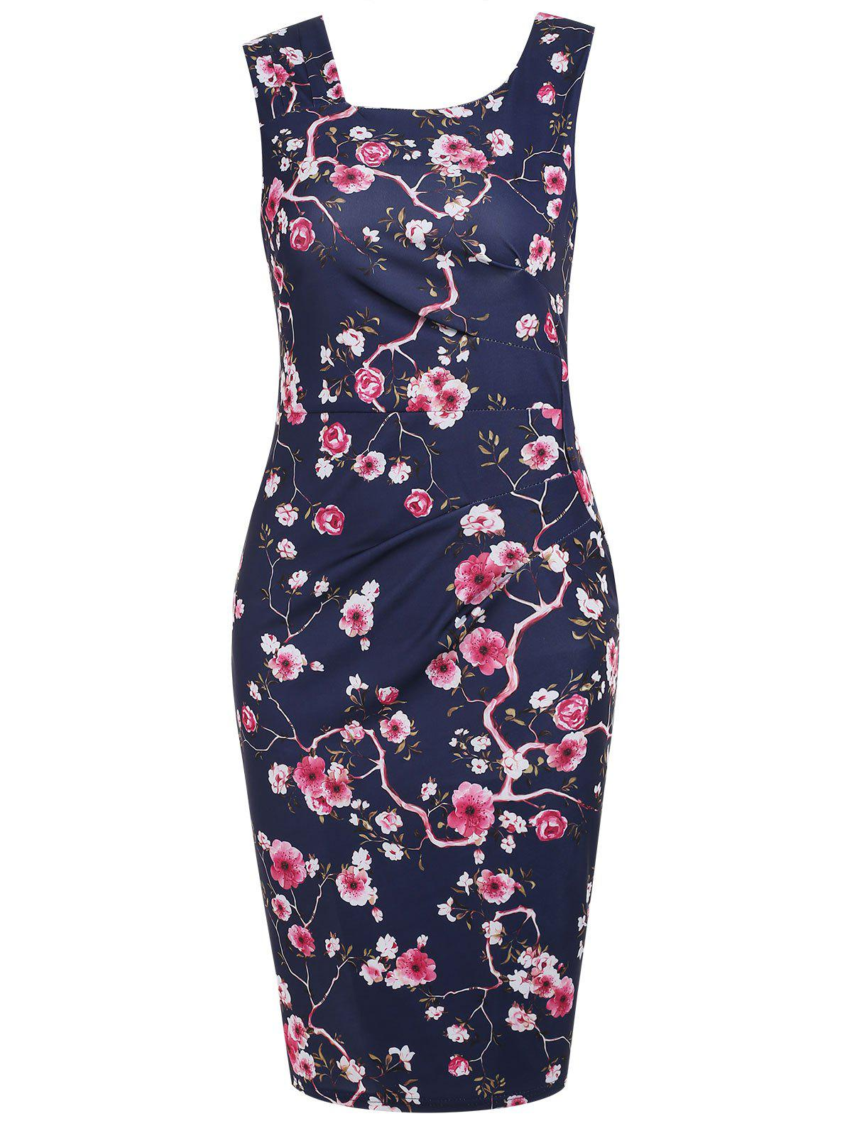 Fancy Floral Formal Knee Length Dress