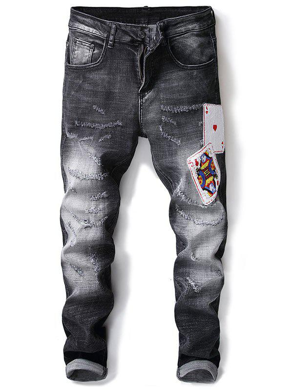 Unique Sequin Poker Decorated Distressed Jeans