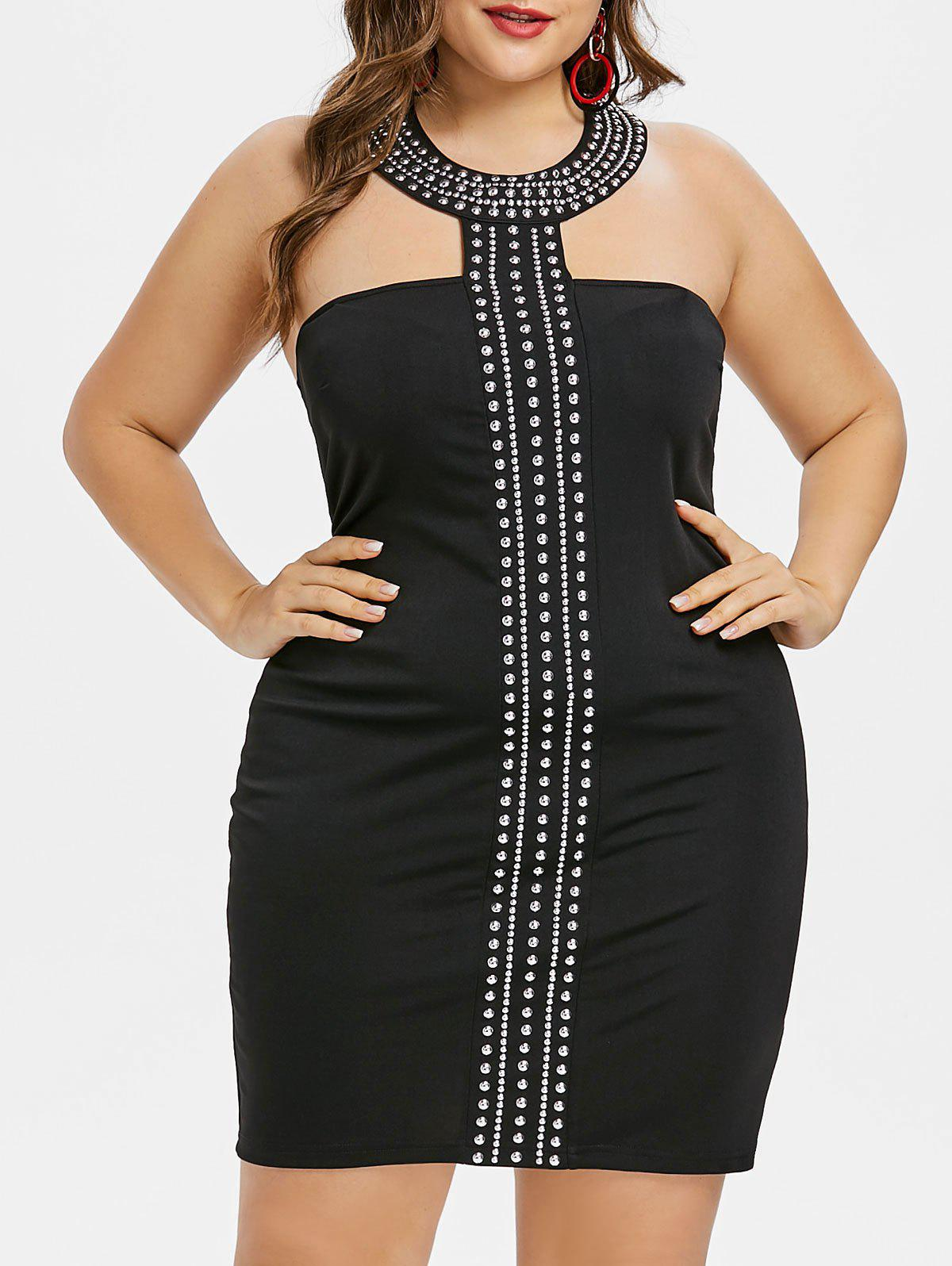 9f86a567667 42% OFF  Choker Neck Plus Size Rhinestone Insert Bodycon Dress