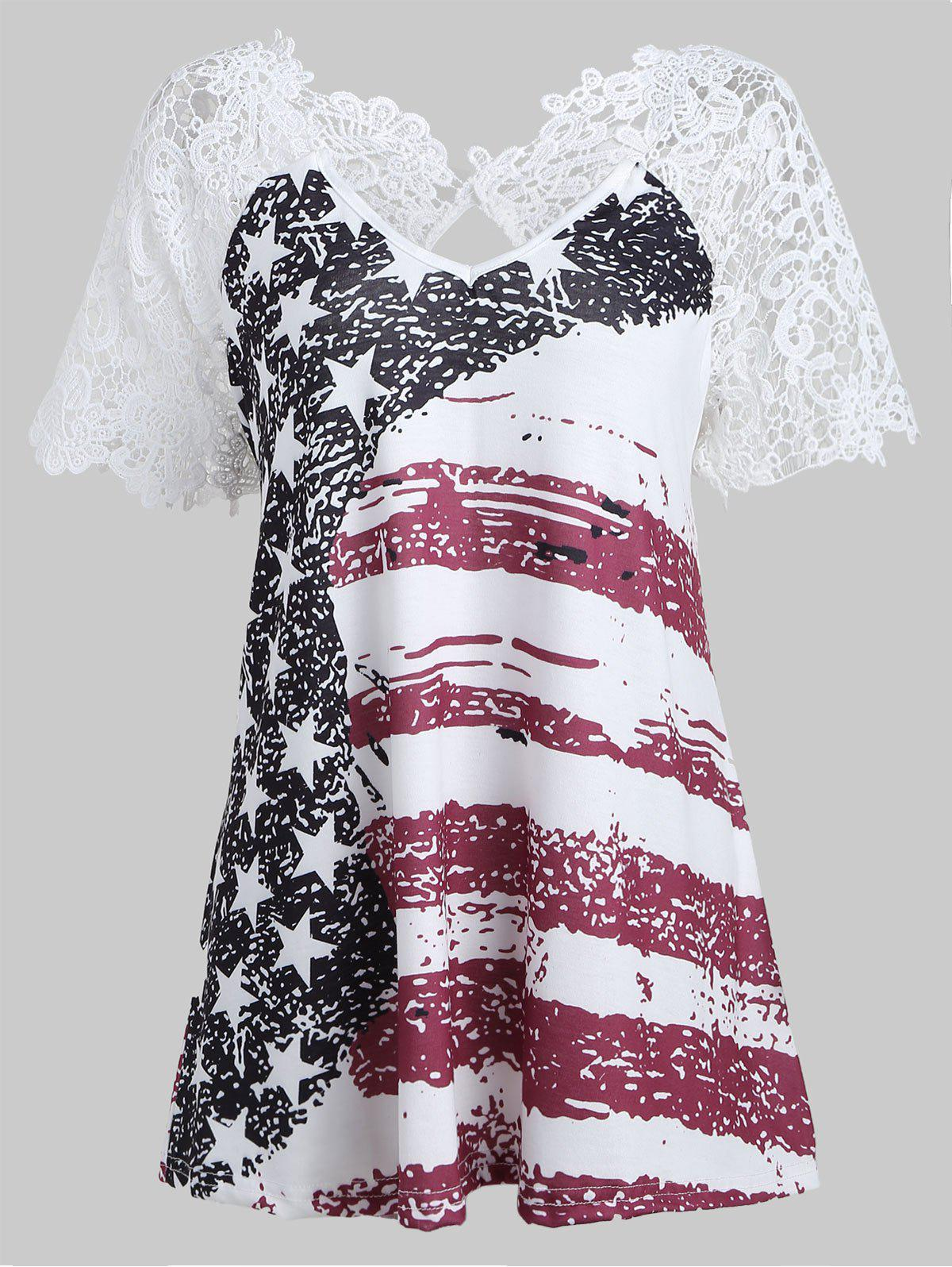 Shop American Flag Lace Insert T-shirt