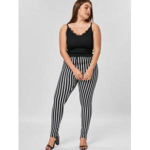 Plus Size Vertical Stripe Tight Pants -