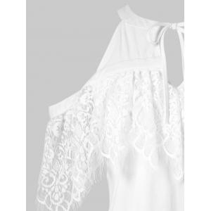 Lace Ruffled Cut Out Cold Shoulder Blouse -