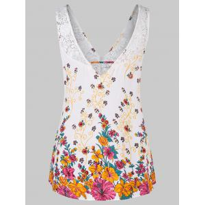 Lace Insert Floral Tank Top -