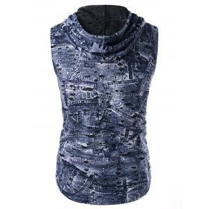 Breathable Destroyed Printed Hooded Tank Top -
