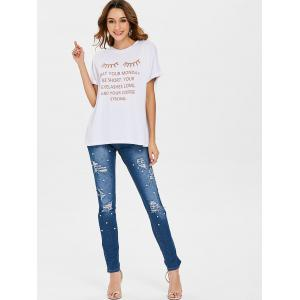 Eyelash Letter Print Graphic Tee -