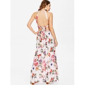 Floral Printed Backless Maxi Dress -