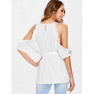 Embroidered Trim Belted Surplice Blouse -