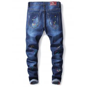 Letter and Fire Paint Faded Wash Jeans -