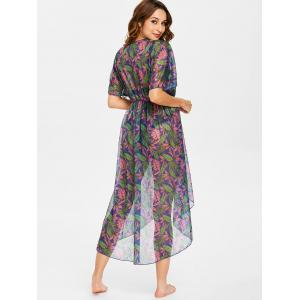 Leaf Batwing Sleeve Kimono Cover Up -