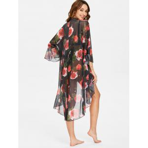 Floral Print High Low Kimono Cover Up -