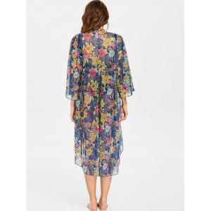 Floral High Low Collarless Cover Up -