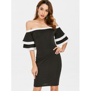 Off Shoulder Flare Sleeve Mini Party Dress -