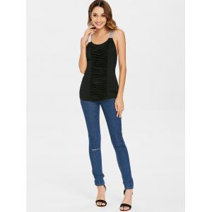 Sequins Ruched Cut Out Fitted Tank Top -