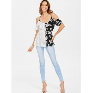 Ruffle Insert Striped and Floral Printed Blouse -