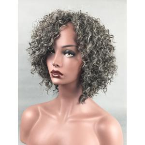 Short Side Bang Colormix Kinky Curly Synthetic Wig -
