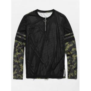 Hollow Out Camouflage Pattern T-shirt -