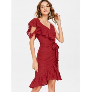 Ruffle V Neck Tie Waist Broderie Wrap Dress -