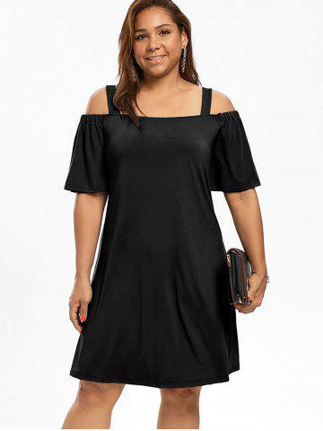 9148878637460 Cold Shoulder Half Sleeve Plus Size Dress
