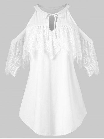 Lace Ruffled Cut Out Cold Shoulder Blouse