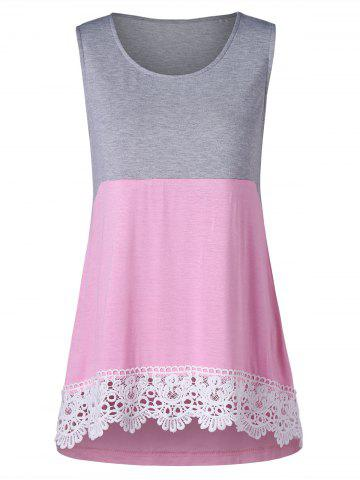 Sale Lace Panel Two Tone Tank Top