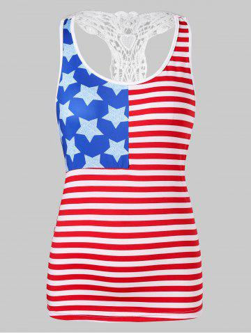 Fancy Lace Panel American Flag Tank Top