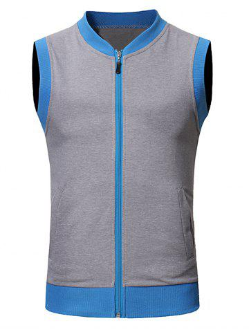 Chic Pocket Full Zip Color Block Summer Vest